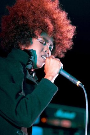 Performing live - Big Afro hair